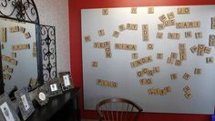 Scrabble tiles that can be rearranged on the wall offer a creative outlet during break time at Google's Toronto office Office Break Room, Office Walls, Cool Office, Office Decor, Staff Lounge, Scrabble Tiles, Scrabble Board, Staff Room