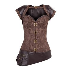 Steampunk Brown Overbust with Detachable Jacket and Pouch