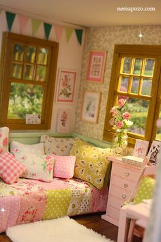 Miniature Rooms, Miniature Houses, Barbie Furniture, Dollhouse Furniture, Shabby Chic Style, Shabby Chic Decor, My Room, Girl Room, Aesthetic Rooms