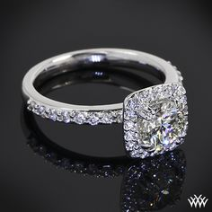 Guinevere Pave Diamond Engagement Ring with a 0.847ct Expert Selection Diamond