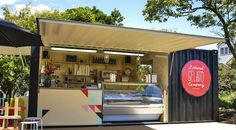 Gelato, re-purposed shipping container, Waiheke Island, Auckland Container Architecture, Container Buildings, Shipping Container Restaurant, Shipping Container Homes, Coffee Shop Design, Cafe Design, Container Coffee Shop, Container Conversions, Container Design