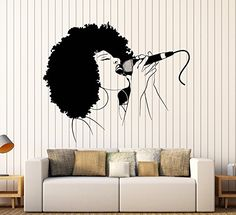Wall Stickers Vinyl Decal Black Woman Singing Microphone Music Hot Sexy Karaoke (ig356) (XL 45 in X 56 in)