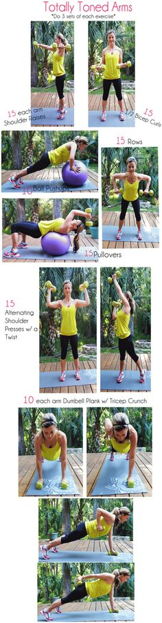 Arm Workout 2 - Totally Toned Arms (not a video) Fitness Diet, Fitness Motivation, Health Fitness, Fitness Routines, Fun Workouts, At Home Workouts, Workout Exercises, Arm Exercises, Fitness Exercises