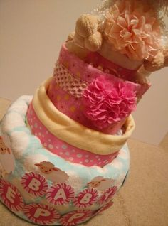 Close up of sheep theme baby diaper cake