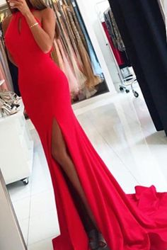 176e0243ae4c Simple Sleeveless Red Mermaid Evening Dress, Long Prom Dress with Slit PL219