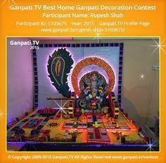 Rupesh Shah Home Ganpati Picture 2015. View more pictures and videos of Ganpati Decoration at www.ganpati.tv
