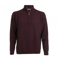 A soft lambswool zip in a rich burgundy coloured wool. These jumpers are a regular fitting garment. Features include - tonal wolfhound embroidered on the chest and leather tab on zip. Wolfhound, Burgundy Color, Jumpers, Tweed, Knitwear, Menswear, Wool, Zip, Suits
