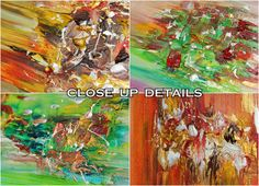 57''Huge Abstract Painting, Set of SIX Original Abstract Oil Landscape Art by JuliaApostolova (CLOSE UP DETAILS)