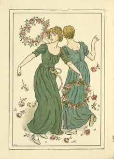 Two women dancing. By Kate Greenaway.