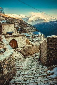 Traditional village in Greece. Zagorohoria, Epirus Region of Greece. Where my mother is from. Paros, Santorini, Places To Travel, Places To Visit, Greece Holiday, Greece Travel, Vacation Spots, Athens, Wonders Of The World