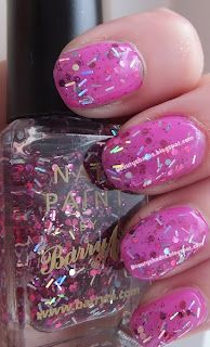 New Barry M Pink Sapphire 352 Glitter Nail Paint Swatch
