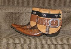 upcycled cowboy boots | Stetson Leather Upcycled Cowboy Western Ankle Boots Brown Inlay Snip ...