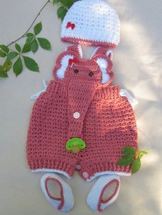 Crochet Baby Infant Romper Elephant Set Pink by MagicalStrings