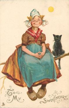 Smiliing Dutch girl sits next to black cat Vintage Valentine Cards, Vintage Cards, Vintage Images, Vintage Holiday, Holiday Postcards, Vintage Postcards, Deer Print, Fantastic Art, Cute Illustration
