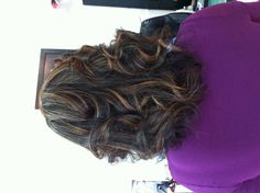 By Kayla Color highlights and flat iron curls