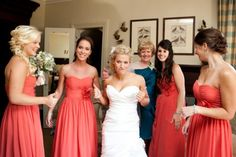 love the bright coral and navy of mother of the bride!