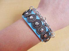 jewelry bangle leather bracelet buckle by jewelrybraceletcuff, $9.00