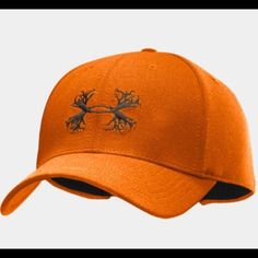 ed6efcc8da6 Under armour Blaze orange hunting hat Antler logo. Color best shown in 2