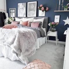 Home Decor cozy grey and white bedroom ideas; bedroom ideas for small rooms; bedroom decor on a budget; Vintage Bedroom Decor, Home Decor Bedroom, Bedroom Wall, Bedroom Rustic, Bedroom Flooring, Bedroom Inspo, Bed Room, Dorm Room, Bedroom Decor For Women