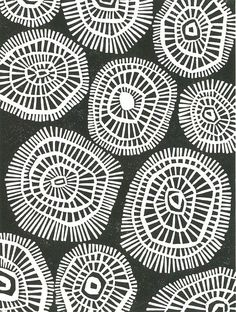 Pattern Abstract Lino block retro mod print of geometric circles in black and white. Art Journal Pages, Textures Patterns, Print Patterns, Organic Patterns, Pattern Designs, Linocut Prints, Art Prints, Block Prints, Block Print Fabric