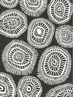 LINOCUT PRINT  Mod Circles  Mid Century Modern Print by magprint, $25.00...