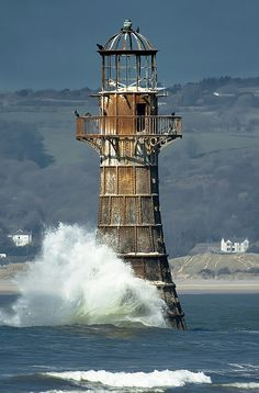 The abandoned Whiteford Lighthouse on the Gower Peninsula in South Wales. It was…