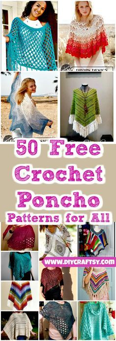 we are with amazingly beautiful and fashion-worthy 50 free crochet poncho patterns that can be with you whole of the year to style you up! These ponchos gratis Poncho 50 Free Crochet Poncho Patterns for All Cardigan Au Crochet, Crochet Baby Poncho, Pull Crochet, Crochet Jacket, Crochet Scarves, Crochet Shawl, Crochet Clothes, Diy Crochet, Crochet Tops