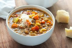 This hearty, flavorful soup is a great meatless main in the colder months of fall and winter. Polenta, Soup Recipes, Cooking Recipes, Giada Recipes, Pasta Recipes, Beef Filet, Feta Salat, Fried Vegetables, Veggies