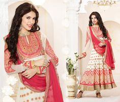 PartyWear Embroidered  Faux Georgette Off White Salwar Kameez Dress Material