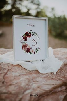 Burgundy Wedding Table Number Card Template - Burgundy Party Theme #burgundywedding #maroonwedding #merlotwedding #marsalawedding #burgundyflorals #maroon #burgundy #wedding #weddinginspo #bridetobe #weddingdecor #bridalshowerdecor #burgundybridal #template #printable #diy #editable #personalized #tablenumber #weddingseating #weddingtablenumber #tablenumbercard
