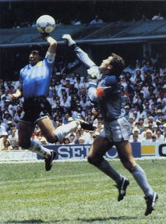 "The ""Hand of G-d,"" one of the most controversial goals in soccer history, occurred when Maradona scored as a result of an illegal, but uncalled handball, in the quarterfinal match of the 1986 FIFA World Cup between England and Argentina. Retro Football, World Football, Football Soccer, Football Players, Soccer Skills, Soccer Tips, History Of Soccer, Football Mondial, Diego Armando"