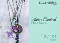 Our new Nature Inspired Necklaces are colorful and will brighten up your outfit. See us on Tuesday from 10am-6pm to see the cute creature designs. #eccentricsboutique #necklaces #jewelry #creatures #animals
