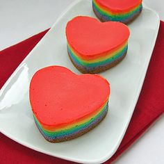 Heart-shaped Rainbow Cheesecake