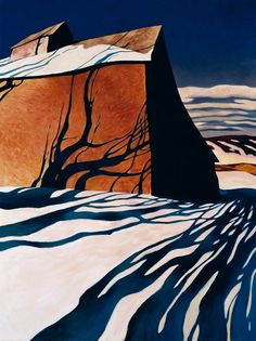 Wei: Palouse Shadow - Painting By Z. Wei - He was born Zhao Bai Wei on September 1957 in Beijing, China. Wei arrived in the Pacific Northwest in 1989 and embarked on an artistic odyssey in a quest to paint powerful images of rural America. Art And Illustration, Landscape Artwork, Abstract Landscape, Art Chinois, Art Graphique, Winter Landscape, Art Plastique, Amazing Art, Contemporary Art