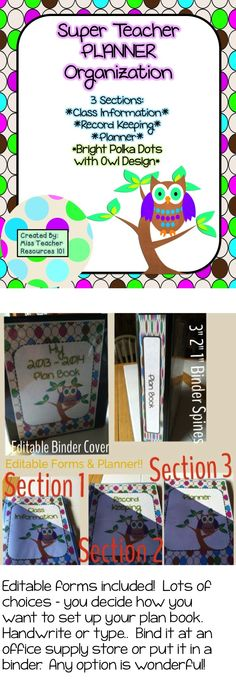 Owl themed plan book with lots of options including editable pages.  Lots of black and white forms to help you organize your class information, create your plan book, and record student grades!