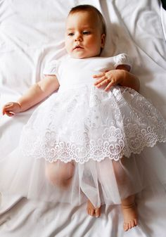 Christening Newborn Girl Dress Handmade Infant Girl Dress Baptism White Outfit