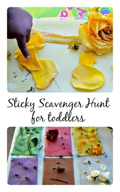 Simple backyard sticky scavenger hunt that even toddlers will enjoy. This activity polishes their color recognition skills and is great for some active nature based outdoor play. Only use thing you find on the ground. Never pick flowers or leaves! Toddler Play, Baby Play, Toddler Preschool, Montessori Toddler, Nature Activities, Infant Activities, Preschool Activities, Outdoor Activities, Learning Through Play