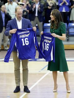 Prince William, Duke of Cambridge and Catherine, Duchess of Cambridge are presented with sport shirts on a visit to Kelowna University during their Royal Tour of Canada on September 27, 2016 in Kelowna, Canada.