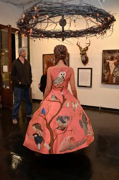 Birds of Prey dress. Embroidery, thread painting on silk. Antieau Gallery