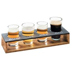 With beer flights becoming all the rage at bars and micro-breweries, this Cal-Mil 3480-99 Madera reclaimed wood beer flight display is sure to be a hit! It combines a wooden rectangular caddy with a black write-on board for contrast. Four cut-out sections securely hold your beer taster glasses (sold separately) so you can offer a variety of beer samples. Simply label your offerings on the black write-on board so your guests know exactly what they're tasting! <br><br> The reclaimed wood…