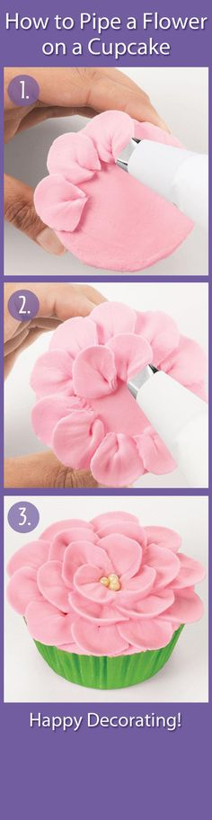 Cupcake Decorating- Piping a flower on a cupcake. ***Would be helpful if they included a tip # !