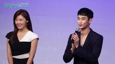 "awesome [09/10/2015] Kim Soo-hyun and actress Ha Ji-won at a meeting of ""Hana Bank"""