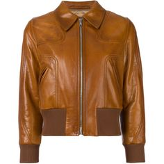 Prada leather bomber jacket ($3,145) ❤ liked on Polyvore featuring outerwear, jackets, brown, bomber jacket, leather jackets, 100 leather jacket, brown leather jacket and flight jackets