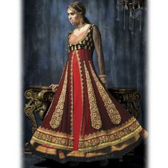 Black and Red heavy embroidered anarkali suit-
