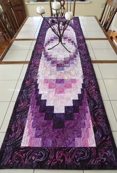 Purple Passion large Quilted Batik Bargello Table Runner Bed