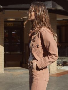 The Ford Jacket is part of the Reformation Jeans collection. This is a hip length, denim jacket with chest pockets and center front buttons.