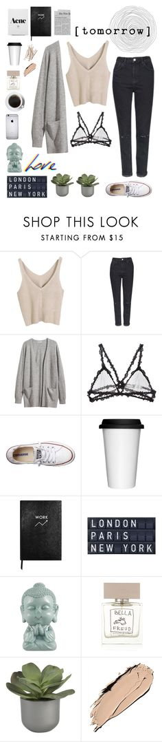 """""""The O.C"""" by joycereina ❤ liked on Polyvore featuring Topshop, H&M, Fleur du Mal, Converse, Sagaform, Sloane Stationery, Tela Beauty Organics, Bella Freud, Crate and Barrel and NARS Cosmetics"""