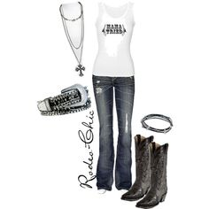 """""""Mama Tried"""" by rodeo-chic on Polyvore, Boots by @corralboots"""