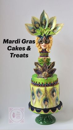 Mardi Gras Desserts, Satin Ice Fondant, Cake Decorating, Decorating Ideas, Cake Cover, Little Cakes, Masquerade Party, Awesome Cakes, Pretty Cakes