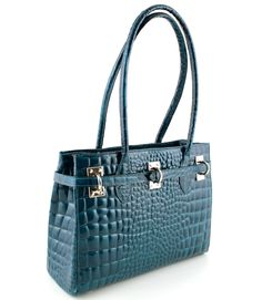 aced16e918 RAVENNA - Petrol Make a statement with this exquisite patent leather bag in  snake print.